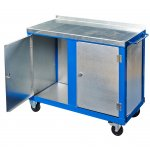 Steel top tool trolley with 2 cupboards