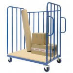 Parcel Trolley 3 enclosed sides 1 open side, with castors
