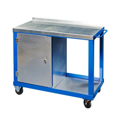 Steel top tool trolley with single cupboard