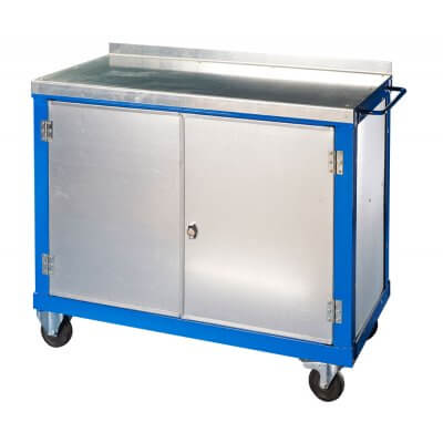 Steel top tool trolley with large cupboard with double doors