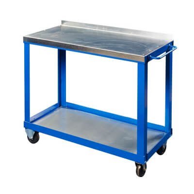 Steel top tool trolley with lower shelf
