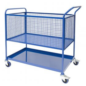 1000mm Picking trolley, lower shelf, upper mesh basket with castors