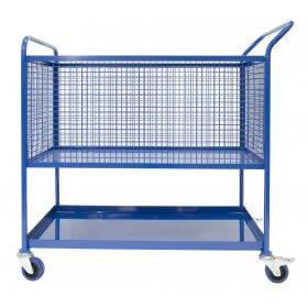 1100mm Picking Trolley, lower shelf, upper mesh basket with castors