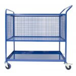 Picking Trolley, lower shelf, upper mesh basket with castors